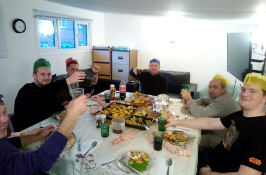 residents enjoying Christmas dinner at Dudley (2020)