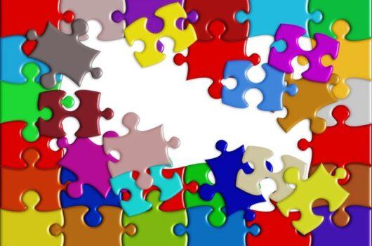 Multi-coloured puzzle Image -Gordon Moody