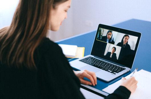 Three people on video call -Gordon Moody